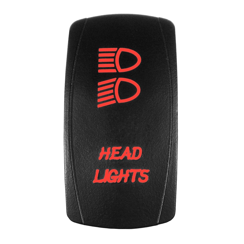 Bright Light Powersports - Laser Rocker Switch - HEADLIGHTS - Universal Off/On/On - 3 Position -12 Volt (blue)