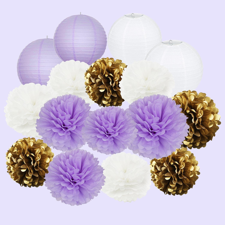 Furuix Purple Bridal Shower Decorations 20pcs White Purple Gold Tissue Paper Pom Pom Paper Lanterns Mixed Package for Purple Themed Party, Purple Baby Shower Decoration