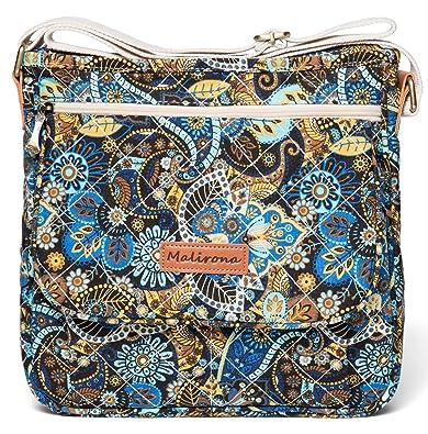 bbed03e72d5f Malirona Canvas Messenger Bag Cross Body Purse Women Travel Purse Shoulder  Satchel Floral Pattern (Black
