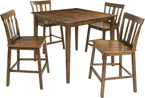 Amazon Com Mainstays 5 Piece Mission Style Dining Set Cherry Table Chair Sets