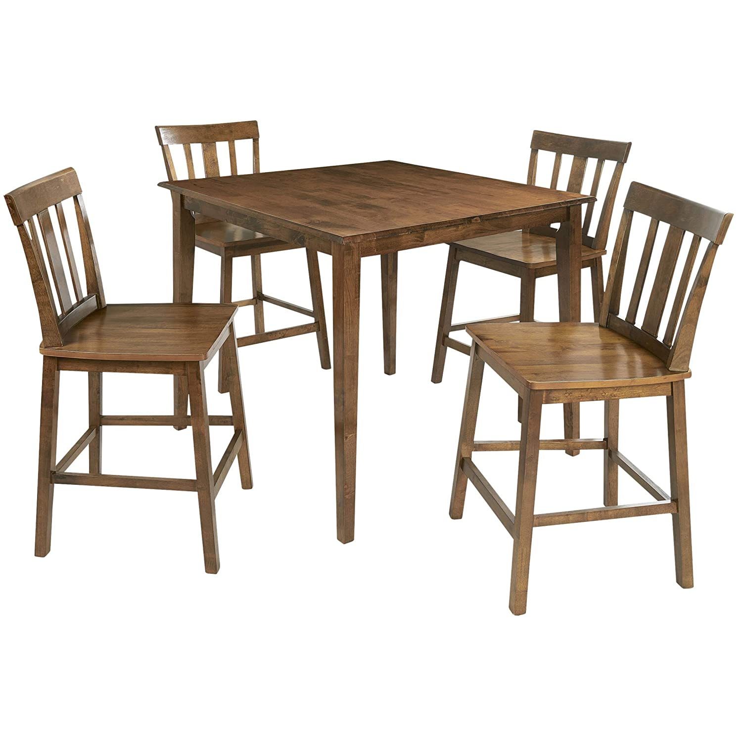 Amazoncom Mainstays 5 Piece Mission Style Dining Set Cherry