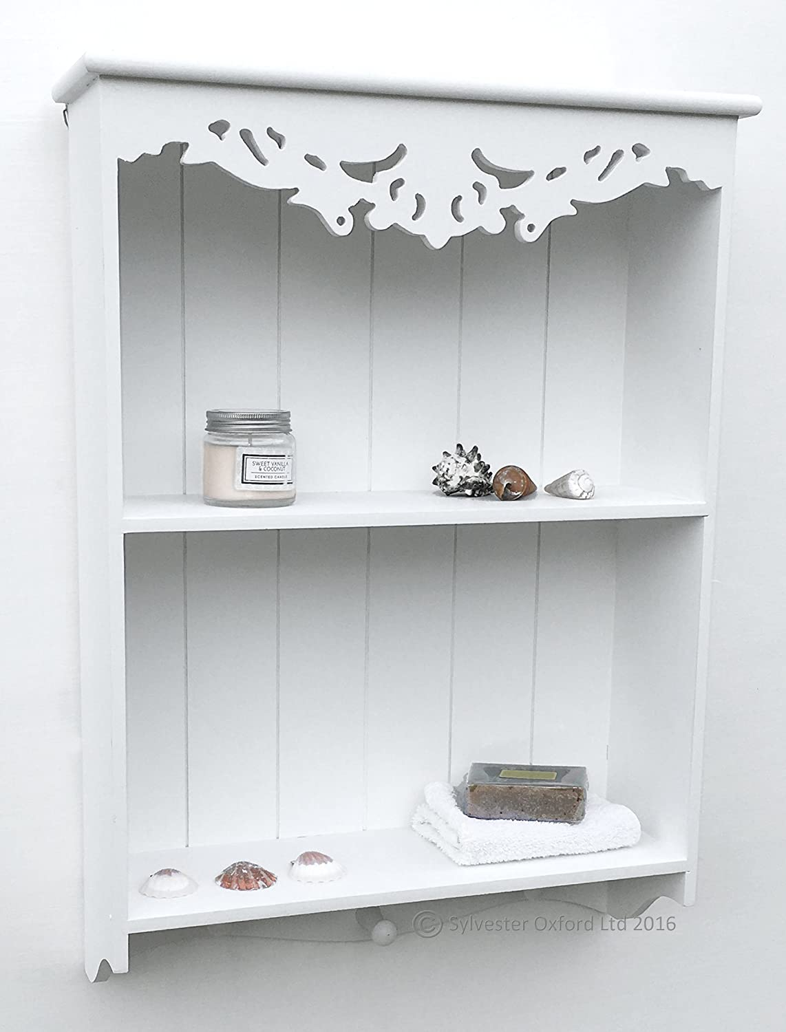 Pretty Carved Shelf / Wall Unit In White