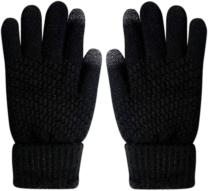 A New Day Women Black Knit Touchscreen Compatible Fashion Gloves One Size Ladies