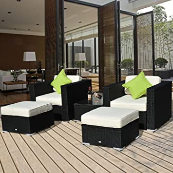 outsunny - set mobili da giardino in poly rattan 5pz set da ... - Mobili Da Giardino In Rattan Vita Moderna
