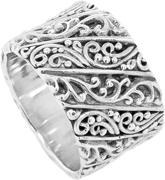 Wide Slanted Striped Band in Sterling Silver