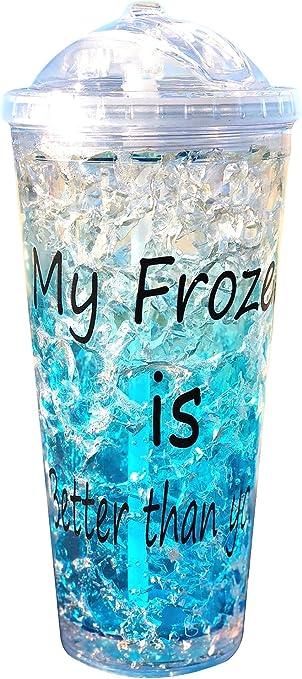 MXT - Vaso para congelador con tapa y pajita de doble pared con ...