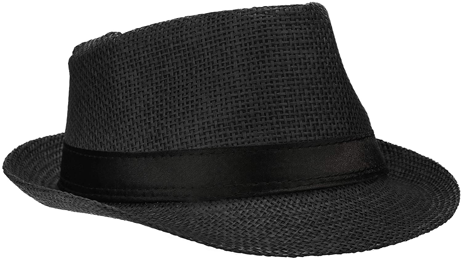 01 pieces - black sunhat Wilhelm Sell/® straw hat Panama fedora hat in black with black ribbon