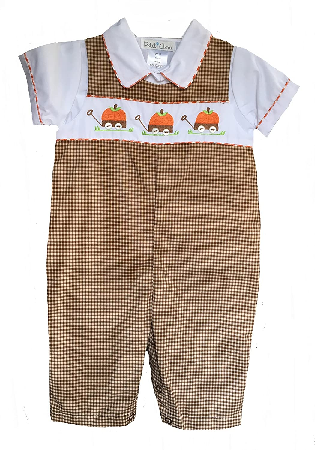 Boys Brown & White Check Embroidered Pumpkins Overalls Set 3m-18m