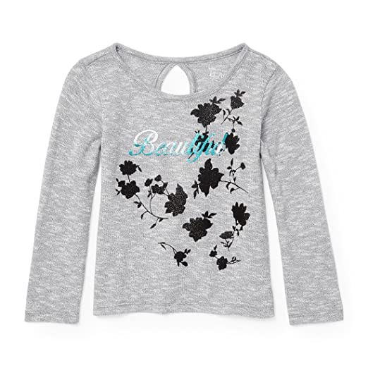 1e6732a6072f Amazon.com: The Children's Place Girls' Long Sleeve Keyhole Graphic Top:  Clothing