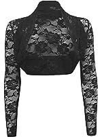 Ladies Long Sleeve Lace Cropped Bolero Shrug Cardgian Top One Size (One Size Regular(8-14), Black)