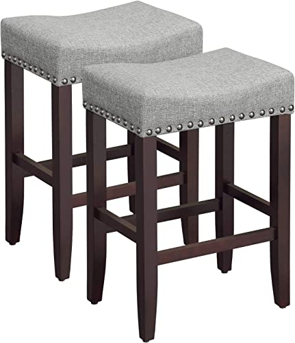 SONGMICS Set of 2 Bar Counter Stool, Well-Padded Dining Chair, Solid Wood Legs, Cotton-Linen Fabric, Seat Height 26.4 Inches, with Footrest, Light Gray