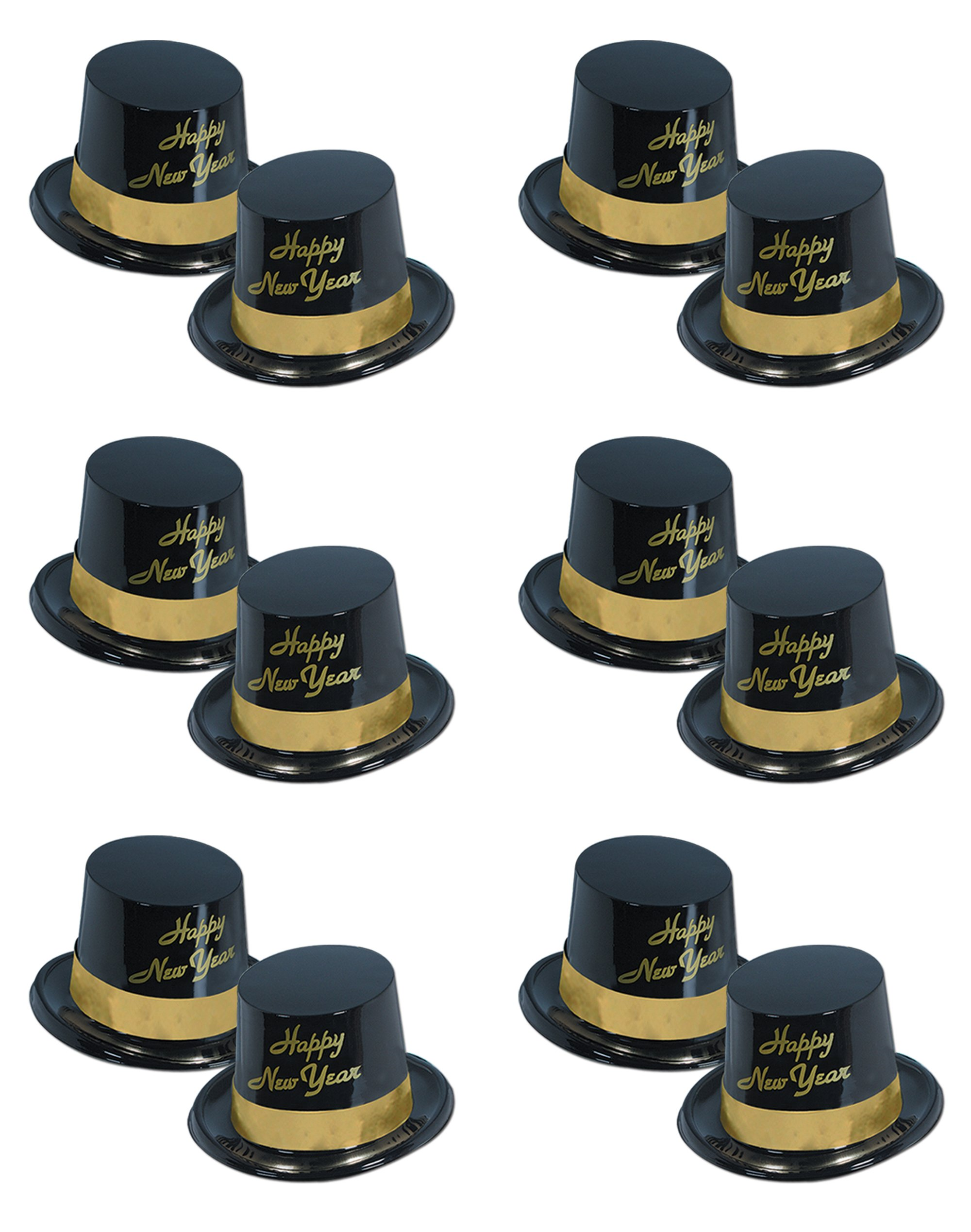 Beistle S88630-25BKAZ12 12 Piece Legacy Toppers, Black/Gold by Beistle