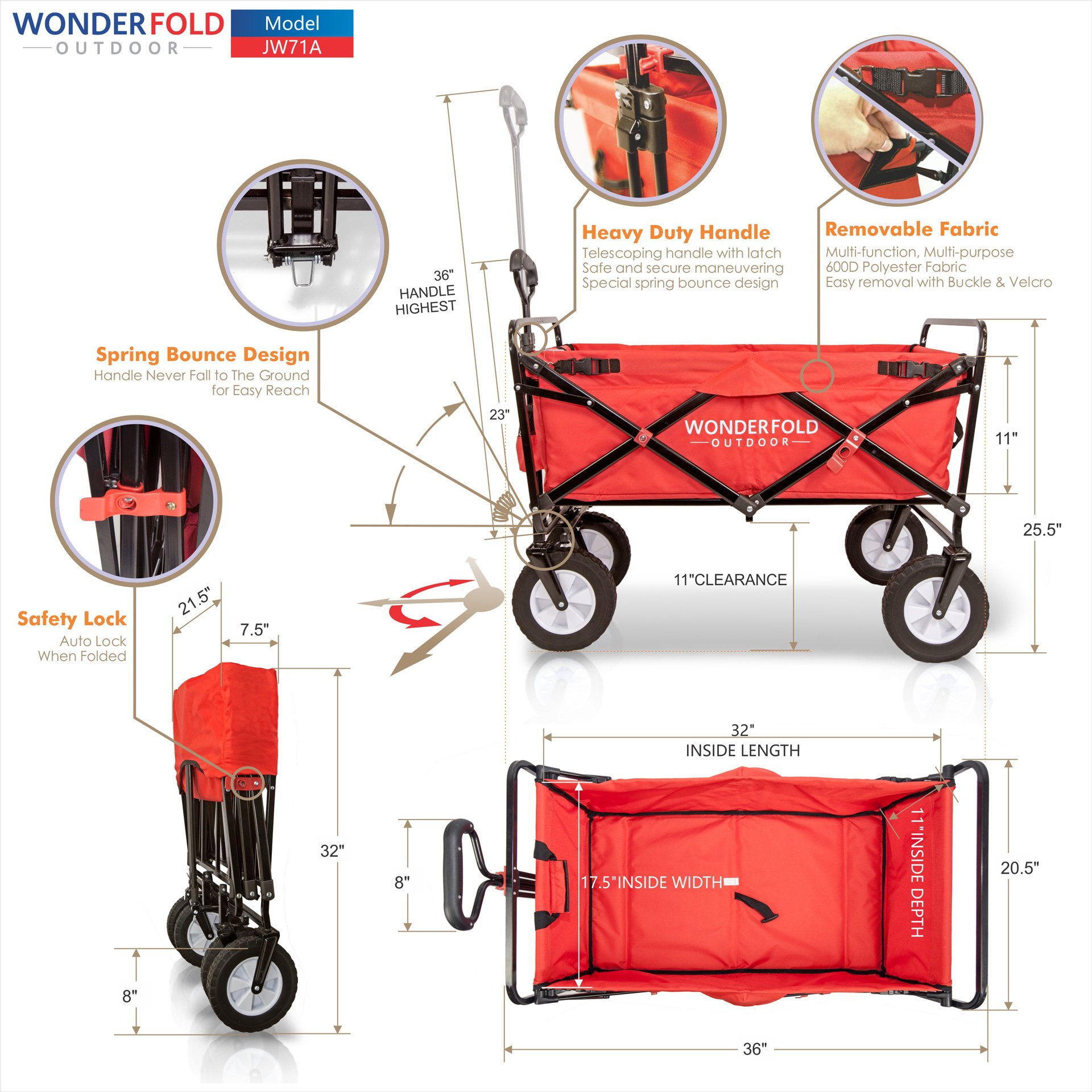 Wonder Fold Outdoor Next Generation Utility Folding Wagon with Removable Polyester Bag, Spring Bounce Feature, Auto Safety Locks, 180 Degree Steering Telescoping Handle Performance, Scarlet Red by WonderFold Outdoor (Image #7)