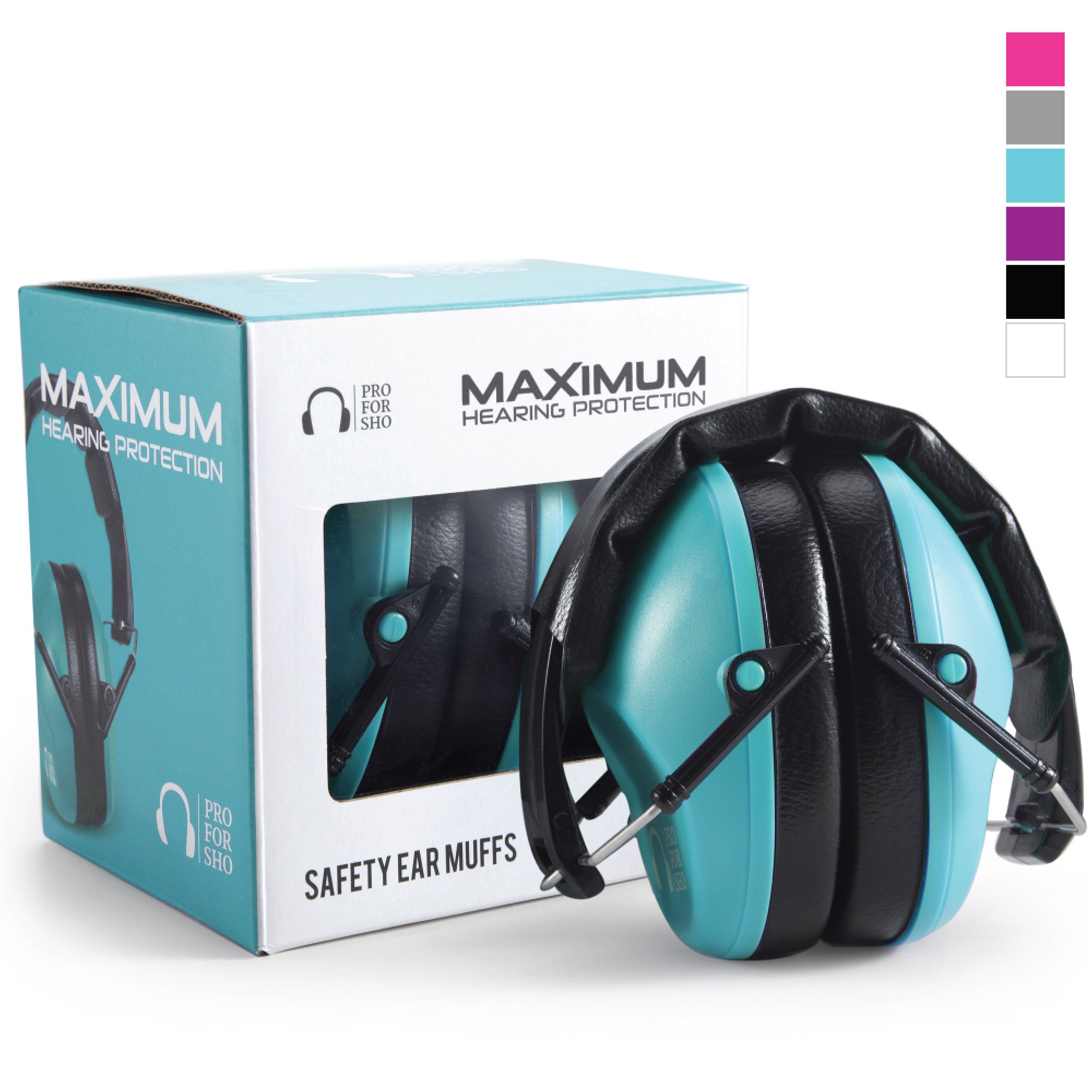 Pro For Sho 34dB Shooting Ear Protection - Special Designed Ear Muffs Lighter Weight & Maximum Hearing Protection - Standard Size, Teal by Pro For Sho