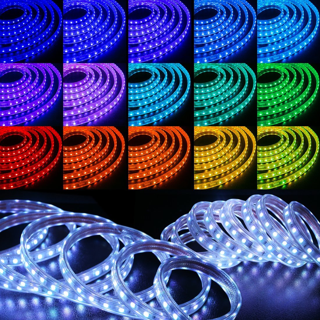 WYZworks SMD 5050 16 Colors LED Flexible Dimming Light Rope Strip Remote Controlled/IR Receiver - 100 Feet by WYZworks (Image #1)