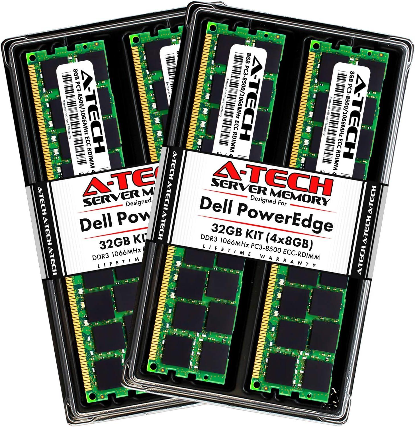 A-Tech 32GB (4x8GB) RAM for Dell PowerEdge R310, T310, R810, R810 II, R910, R910 II, M910, M910 II | DDR3 1066MHz ECC-RDIMM PC3-8500 4Rx8 1.5V 240-Pin ECC Registered DIMM Server Memory Upgrade Kit