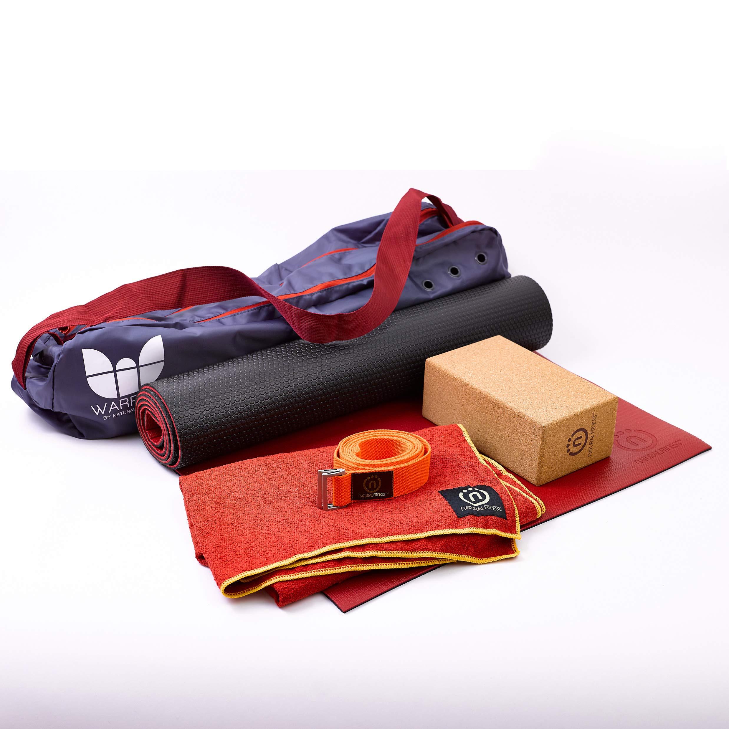 Natural Fitness Hot Yoga Kit with Mat, Towel, Cork Block, Hemp Strap, and Bag