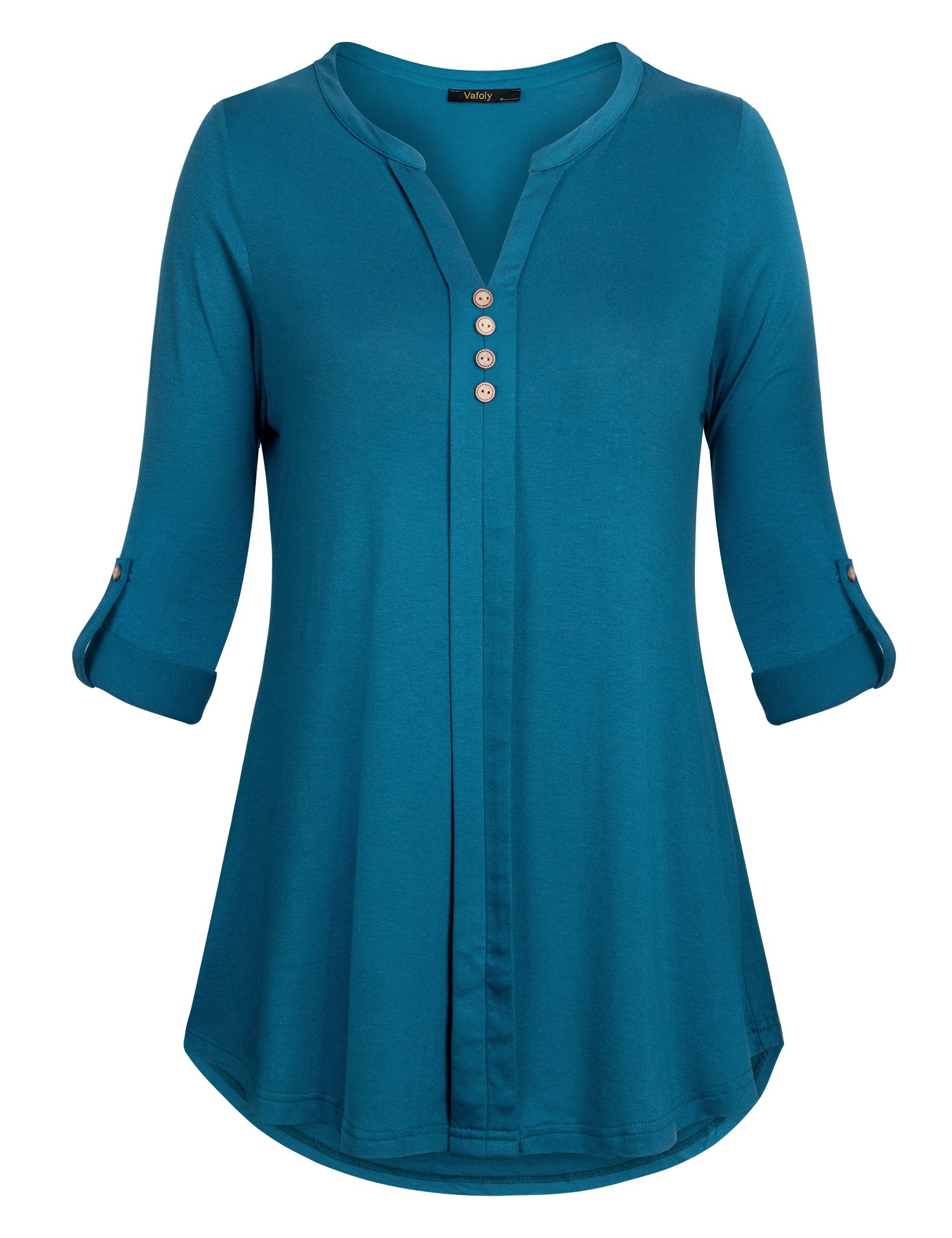 Womens Tunic Tops,Vafoly 3/4 Sleeve T Shirts,Ladies Tops Roll Up Sleeve Henley Tunic Blouses for Work Dark Cyan XXL