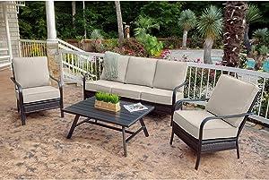 Hanover OAKMONT4PCS-ASH Oakmont 4-Piece Grade Patio Set Commercial Outdoor Furniture, Cast Ash/Gunmetal