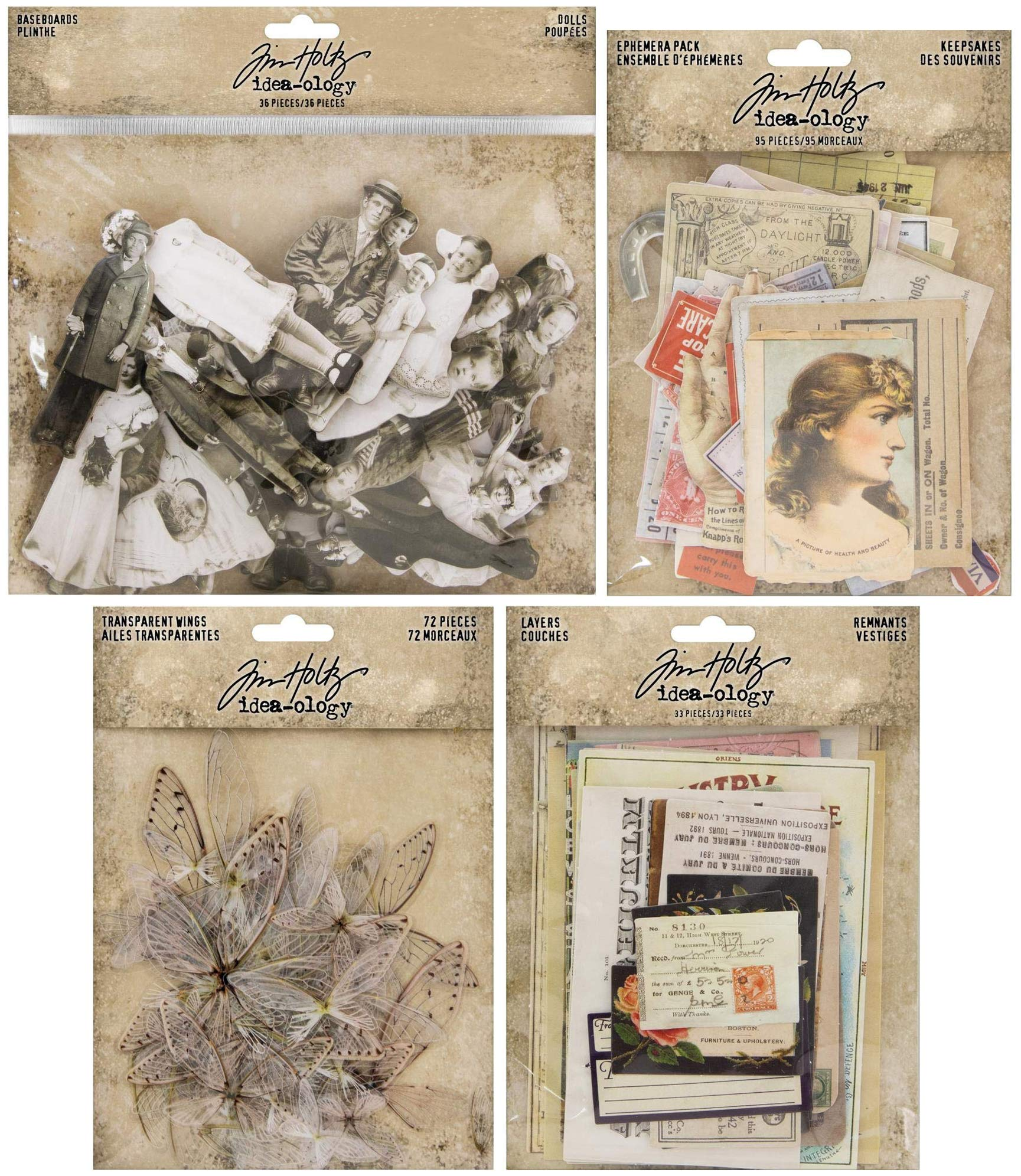Tim Holtz 2019 Paperie - Baseboard Dolls, Remnants Layers, Transparent Wings and Keepsakes Ephemera - 4 Items