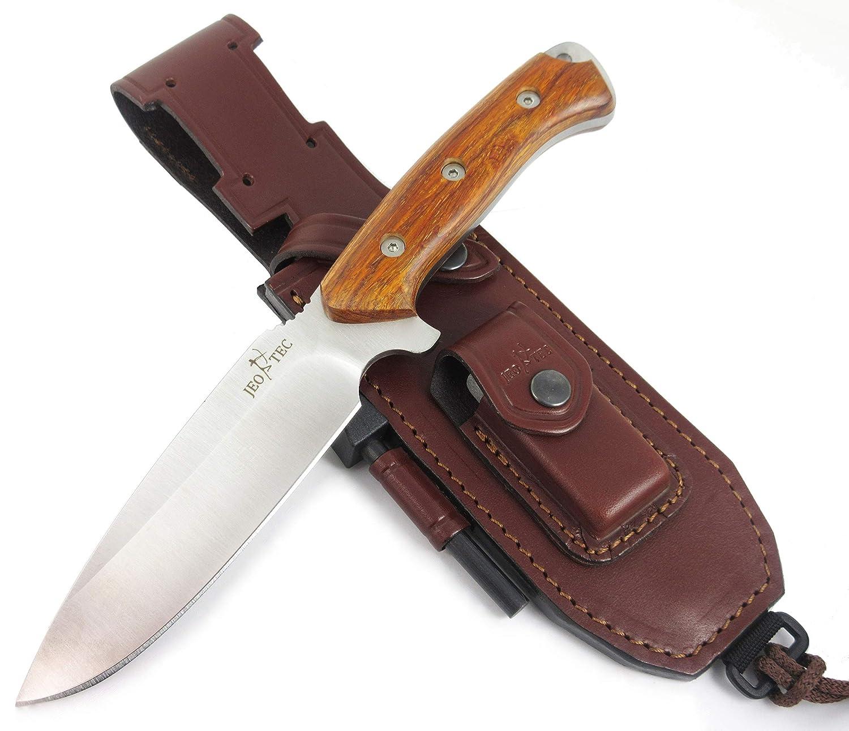 JEO-TEC N 15 Bushcraft Survival Hunting Knife – BOHLER N690C Stainless Steel, Multi-positioned Sheath – Handmade