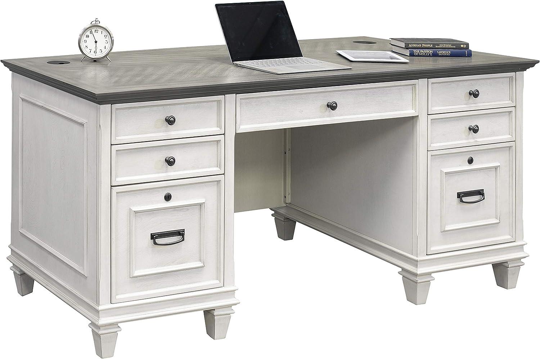 Martin Furniture Double Pedestal Desk, White