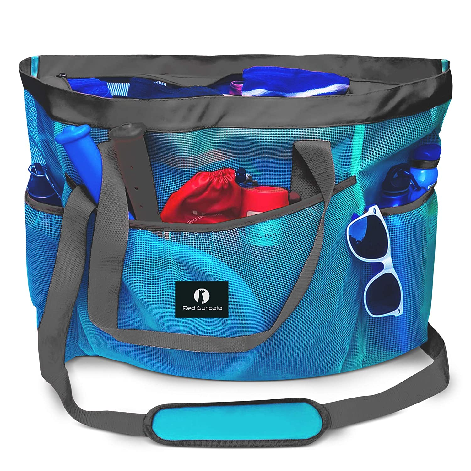 Red Suricata Large Mesh Beach Bag Mesh Beach Tote Bag with Pockets – Beach Bags and Totes for Women with Zipper 7 Large Elastic Pockets for Beach Accessories Beach Toys Celeste Blue Grey