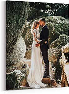 Canvas Prints with Your Photos, Personalized Canvas Wall Art Wedding Baby Dog Family Pictures Home Decor, Customized Gifts with Stretcher Bar (Framed Cavnas, 16