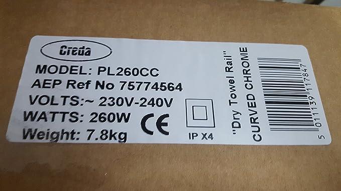 Creda 260 W radiador toallero curvados cromado baño de pared calefactor eléctrico pl260cc - H: cm L: cm D: 4 cm: Amazon.es: Hogar