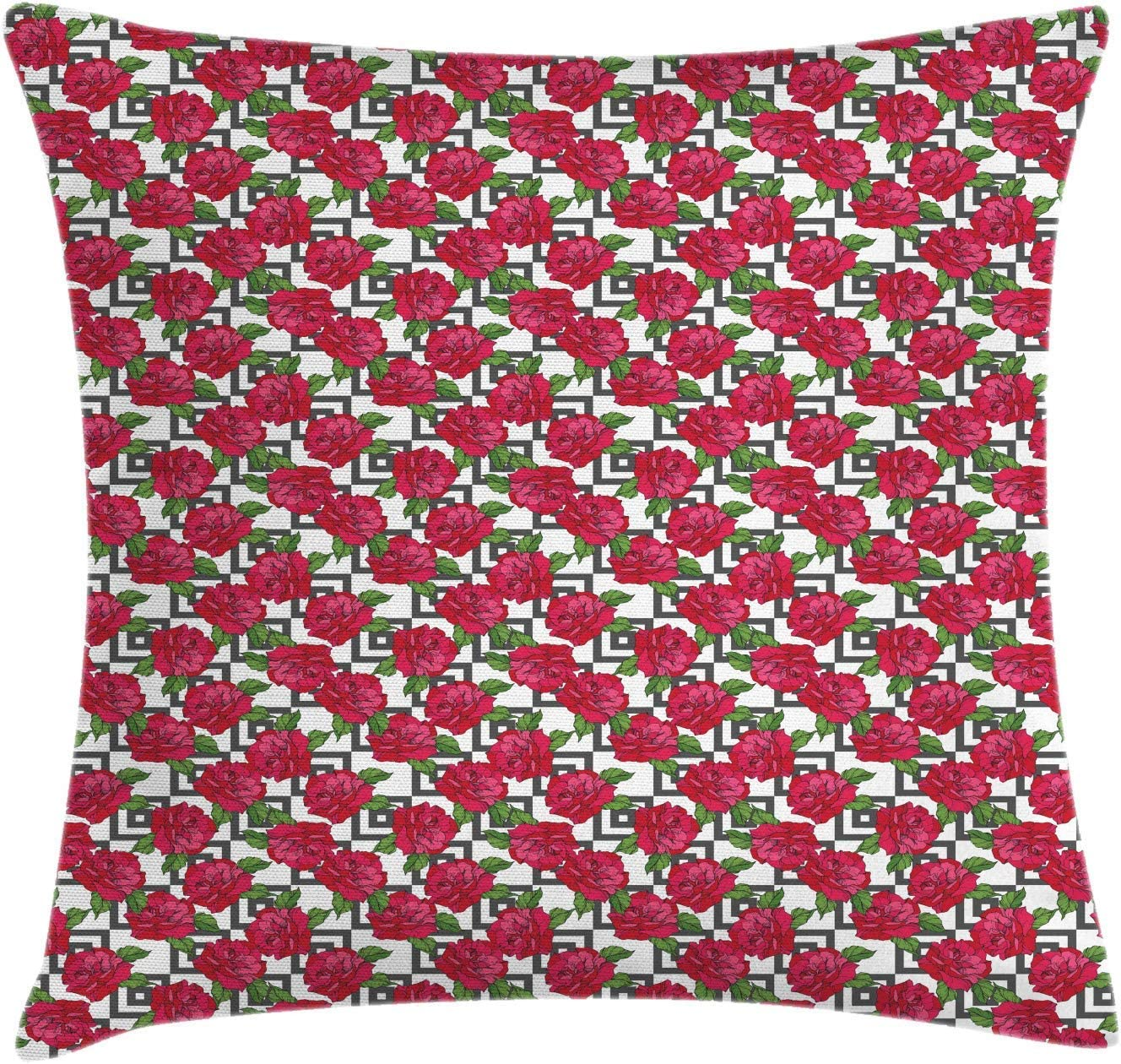 Roses Throw Pillow Cushion Cover, Floral and Geometric Modern Pattern with Pink Tones Flowers on Nested Squares, Decorative Square Accent Pillow Case, Multicolor,18 X 18 Inches