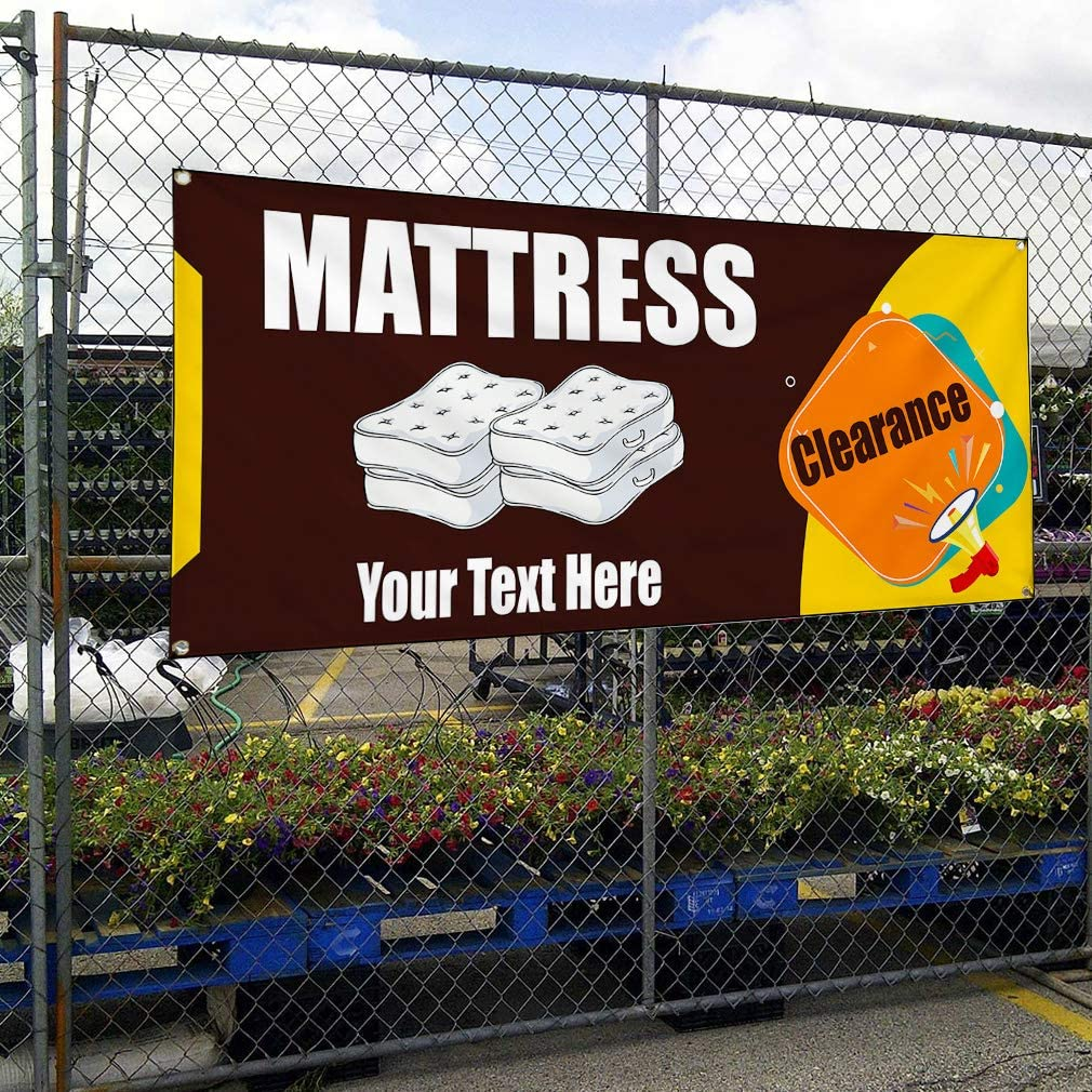 Custom Industrial Vinyl Banner Multiple Sizes Mattress Clearance Style A Personalized Text Here Business Outdoor Weatherproof Yard Signs Brown 8 Grommets 44x110Inches