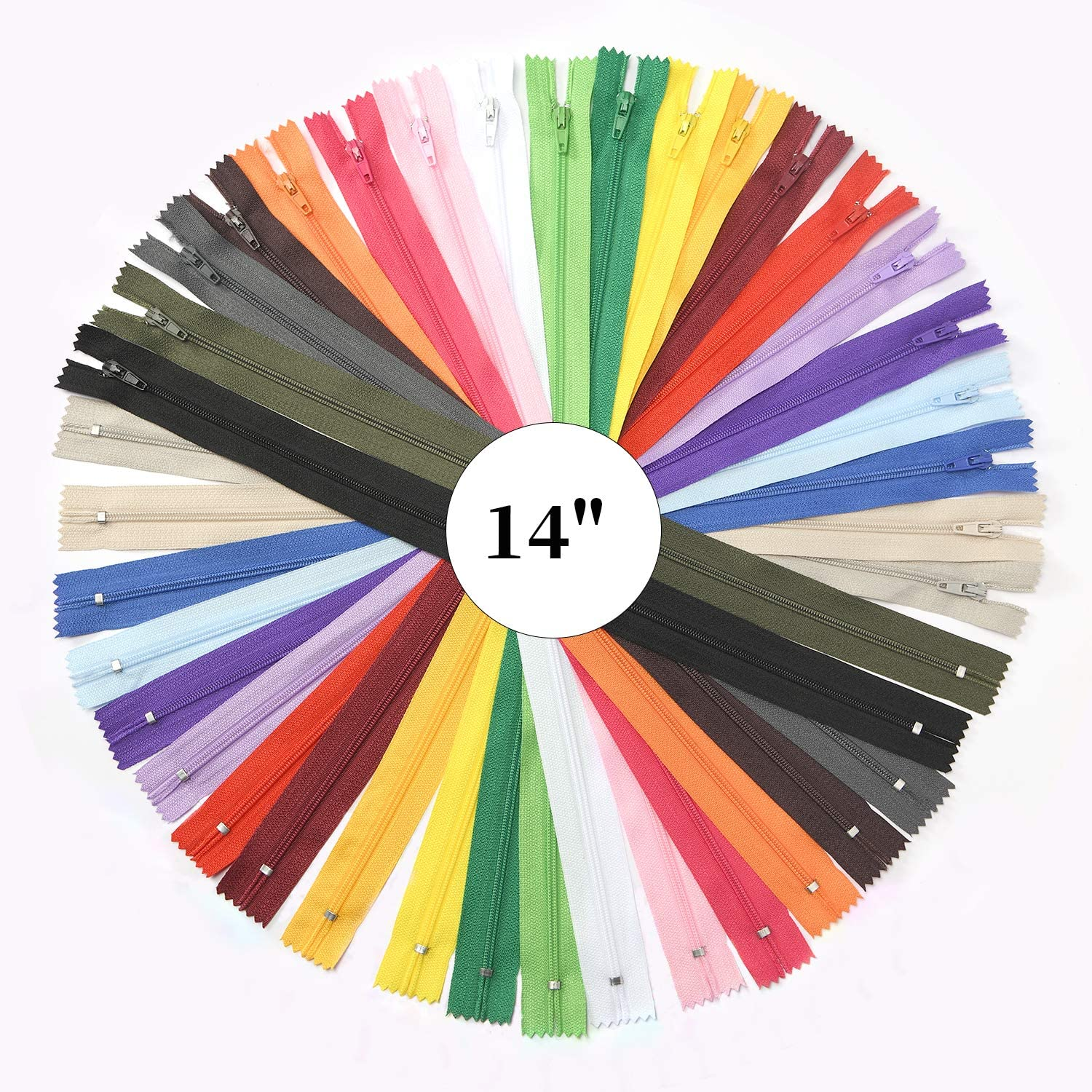 60pcs Nylon Coil Zippers 20 Assorted Colors 5 Inch Colorful Sewing Zippers Supplies for Tailor Sewing Crafts
