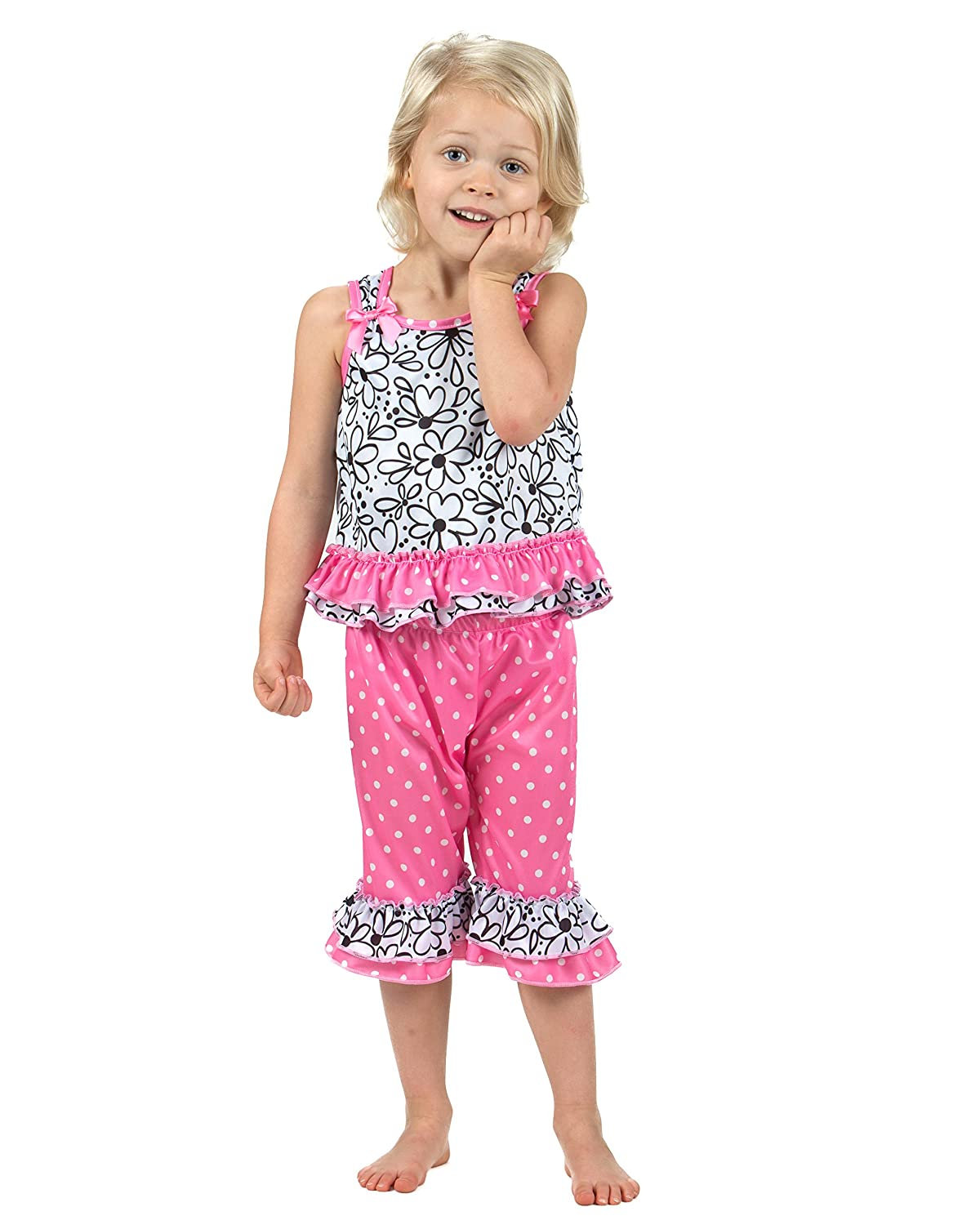 Laura Dare Girls Sweet Daisey Bow Top Pajamas 2t-6x