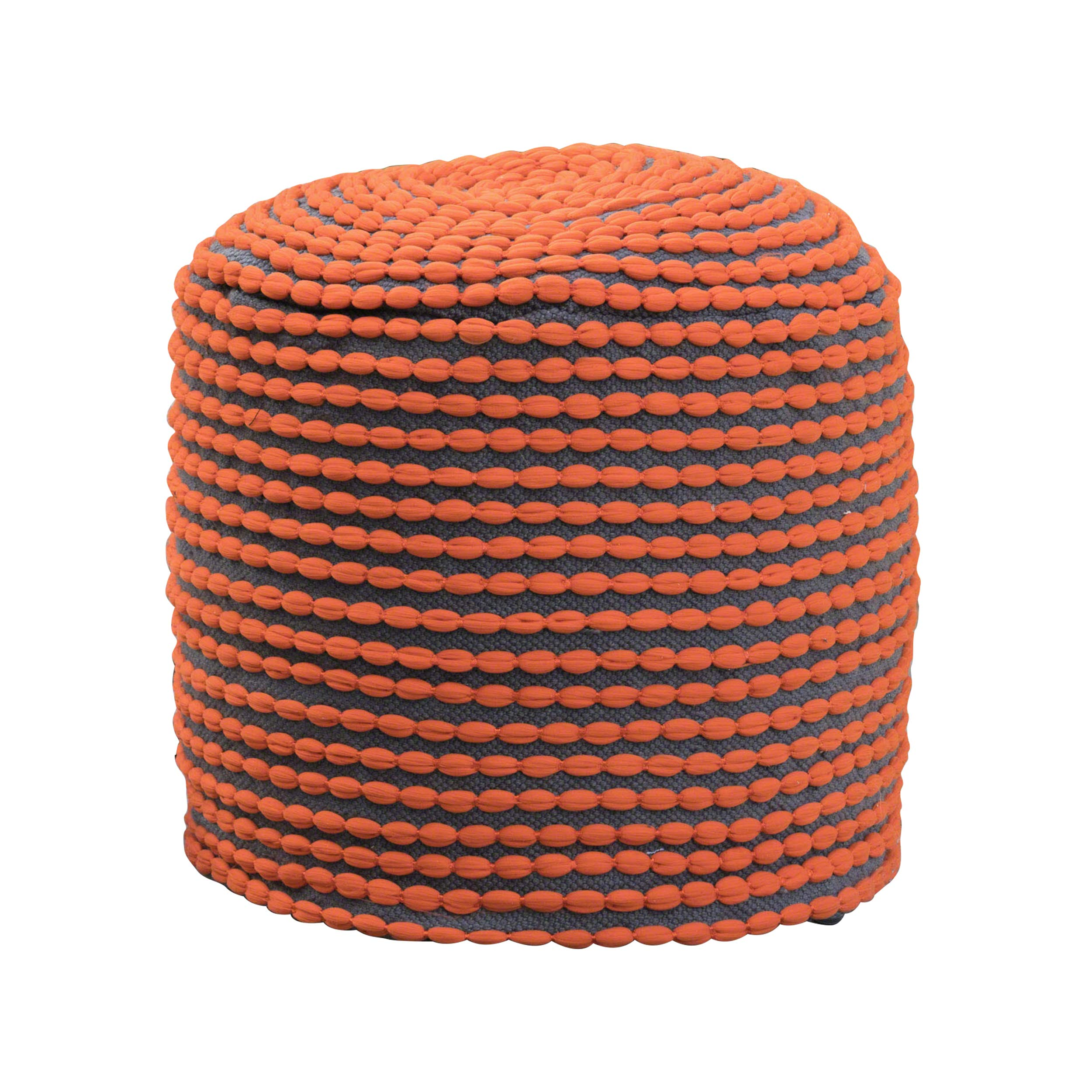 Great Deal Furniture Collier Outdoor Pouf | Orange Fabric | Round | Footrest for Patio Set