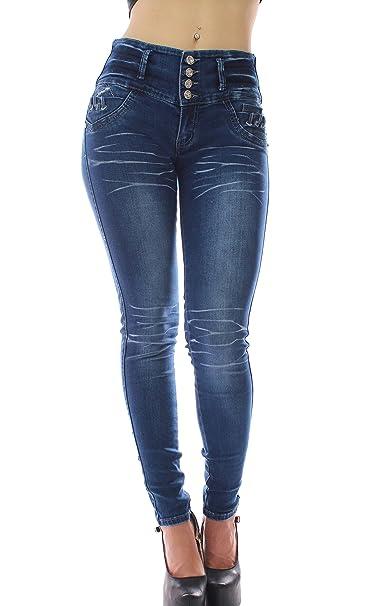 Pantalon vaquero de mujer,Push up / Levanta cola,Pantalones elásticos colombiano 1359,color azul con talla XS-XXXL (XS, AZUL)
