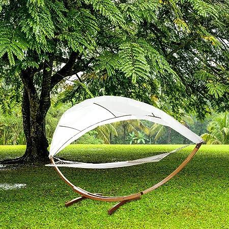 NYC Hengda® para jardín, Patio y casa 415cm Hamaca con Marco Hamaca Soporte hamacas Madera + Techo hasta 200kg: Amazon.es: Hogar