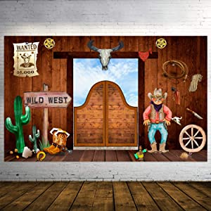 Western Cowboy Party Banner Decorations Wild West Cowboy Photography Banner Western Photo Booth Props Extra Large Western Cowboy Backdrop Banner for Theme Party Decorations,72.8x43.3 Inch