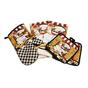 Home Collection Chef-Themed Kitchen Mitts, Pot Holder, Kitchen Towels Set