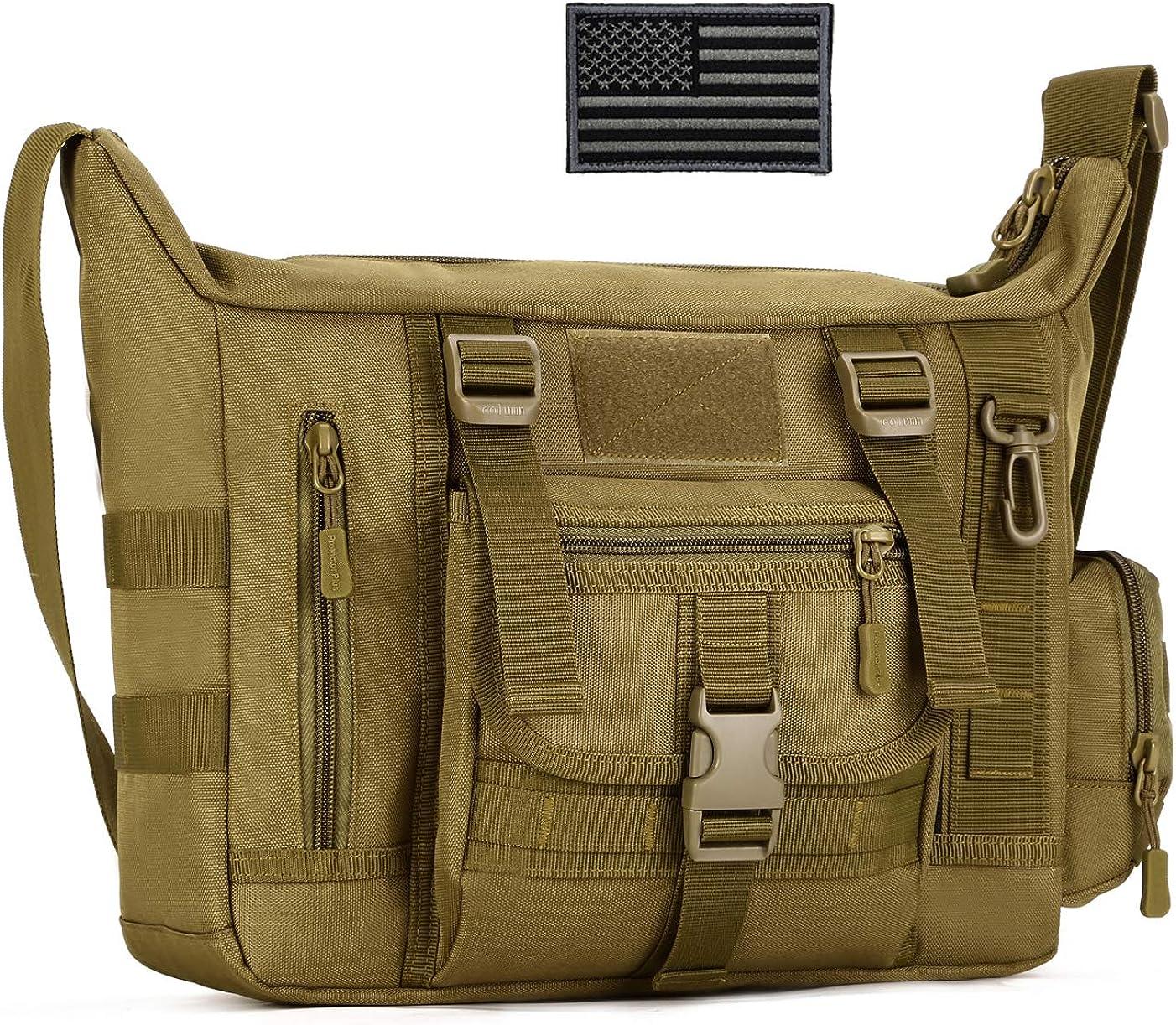 ArcEnCiel Tactical Messenger Bag Men Military MOLLE Sling Shoulder Pack with Patch