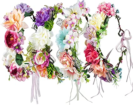 ZWOOS 4 Pieces Flower Headband with Elastic Ribbon Floral Garland for Festival Wedding Party Flower Headband Crown #14, Large
