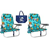 2 Tommy Bahama Backpack Beach Chairs/ Turquoise + 1 Medium Tote Bag