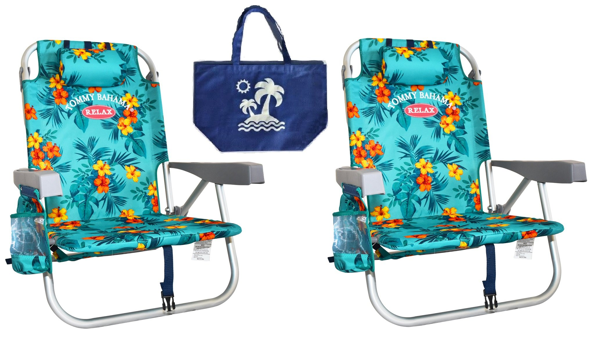 2 Tommy Bahama Backpack Beach Chairs/Turquoise + 1 Medium Tote Bag