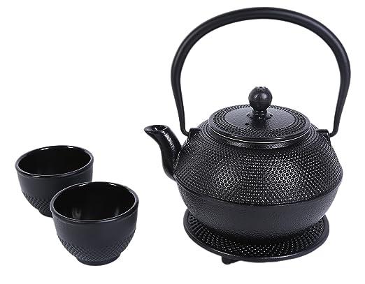 Juego de hervidores de té de hierro fundido negro para 2 – Contemporáneo diseño holandés con salvamanteles, dos tazas – 1200 ml