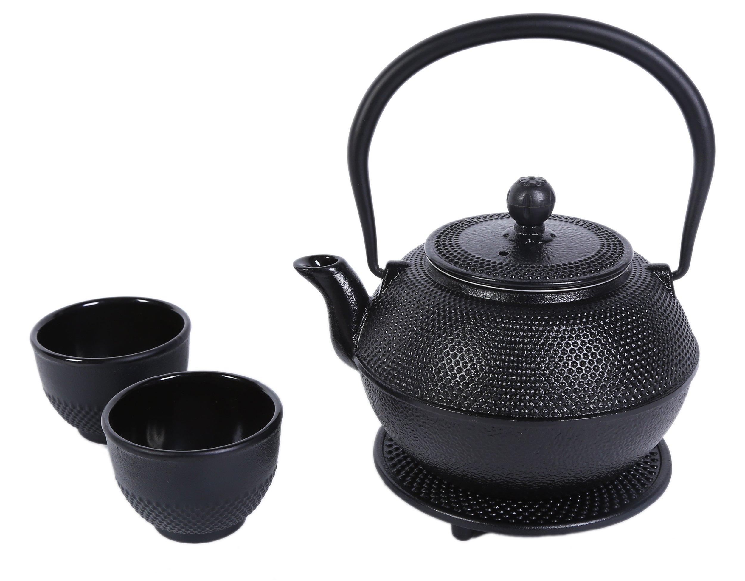 Juvale Black Cast Iron Tea Kettle Set 2 - Contemporary Dutch Hobnail Design Trivet, Two Cups - 1200 mL
