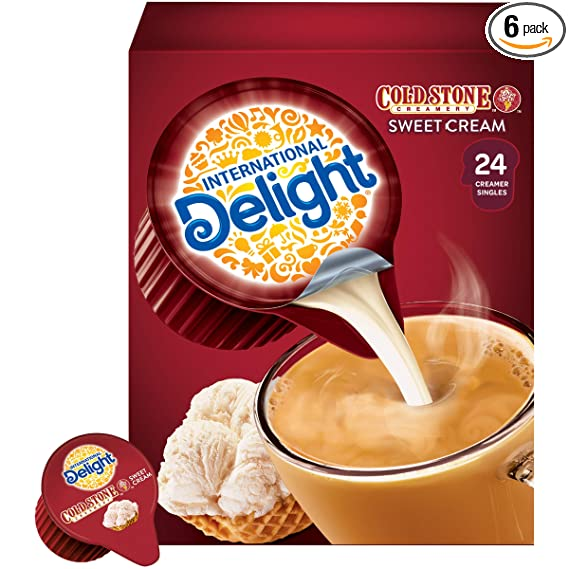 International Delight Coffee Creamer Singles, Cold Stone Creamery Sweet Cream, 24 Count (Pack of 6)