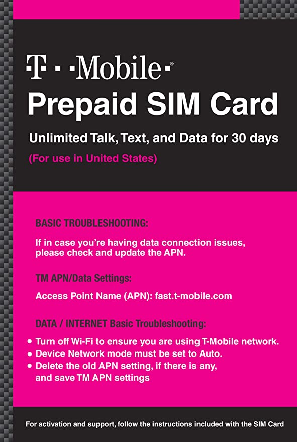 T-Mobile Prepaid SIM Card Unlimited Talk, Text, and Data for 20 days (For use in United States)