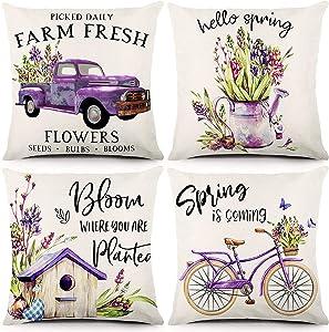 Liwoton Spring Pillow Covers 18x18 Inch Set of 4 Spring Lavender Decorations Farmhouse Throw Pillowcase Spring Garden Purple Floral Decorative Linen Cushion Case for Spring Home Decor