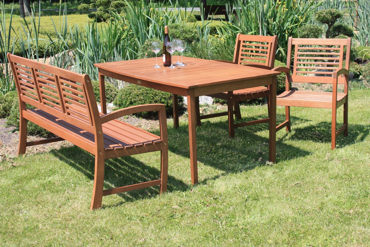 Gartenmöbel Set Garten Garnitur Holz Sitzgruppe Echtholz Eukaylptus - hochwertige Gartenmöbel im 4er Set aus geöltem Holz Eukalyptus - 1 Tisch 1 3-Sitzer Bank 2 Sessel