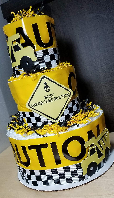 Amazon Com Baby Under Construction Diaper Cake 3 Tier Baby