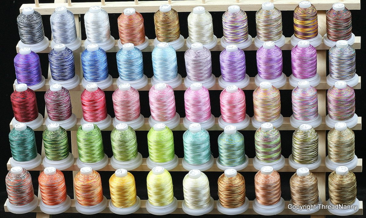 New 50 Cones Varigated Colors Polyester Machine Embroidery Machine Thread for Brother Babylock Janome Singer Pfaff Husqvarna Bernina Machines by ThreadNanny